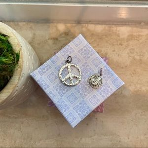Jewelry - ✨Sterling Silver J and Peace Sign Pendants✨